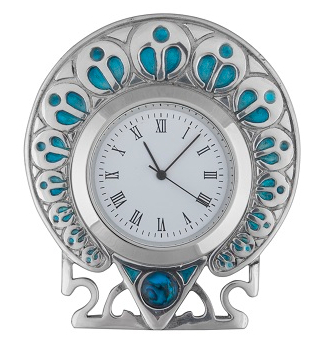Peacock Enamel Clock