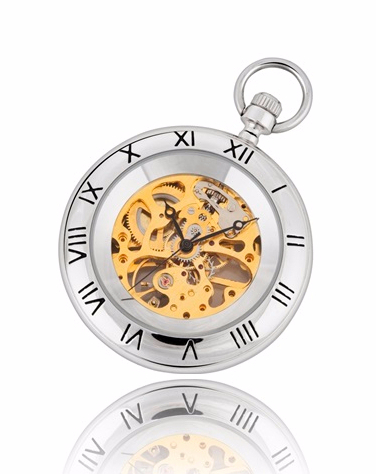 Silver and Gold Mechanical Pocket Watch with Stand