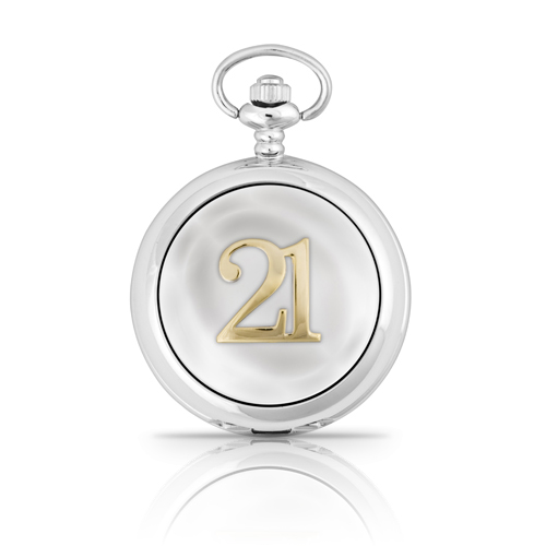 21st Birthday Two Tone Mechanical Pocket Watch