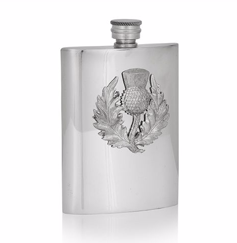 6oz Luxury Hip Flask with Embossed Thistle
