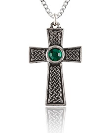 Celtic Cross Pendant with Green Stone