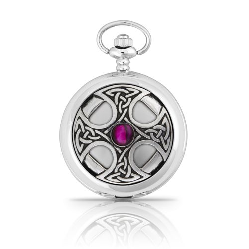 Celtic Cross With Stone Mechanical Pocket Watch