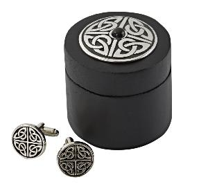 Celtic Knot Cufflinks In Wooden Box With Stone