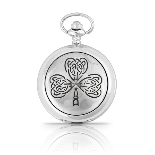 Celtic Leaf Shamrock Mechanical Pocket Watch