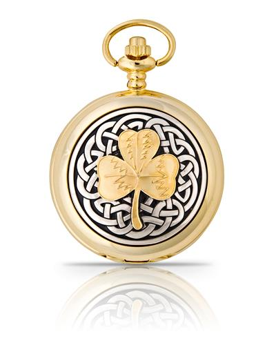 Celtic Shamrock  Pocket Watch Gold
