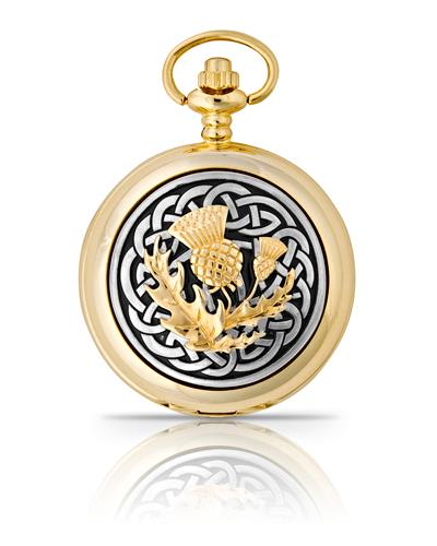 Celtic Thistle Pocket Watch Gold
