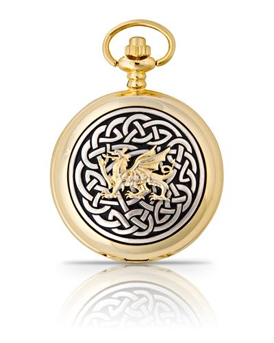Celtic Welsh Dragon Pocket Watch Gold