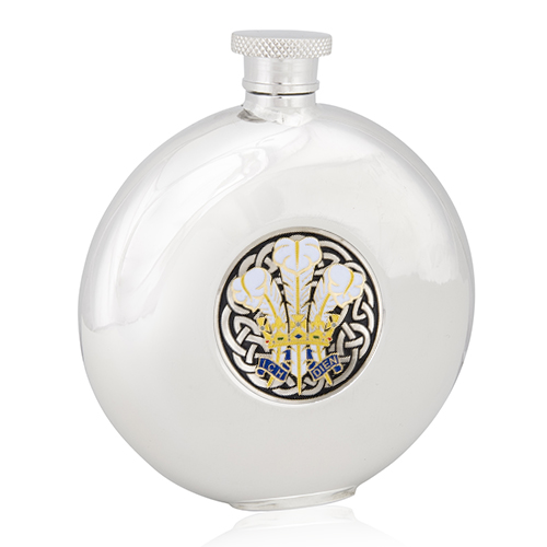 Enamelled Welsh Feathers Round Flask