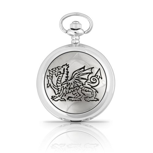 Engraved Welsh Dragon Pocket Watch