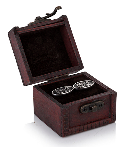 Father of the Bride Cufflinks in Wooden Trunk
