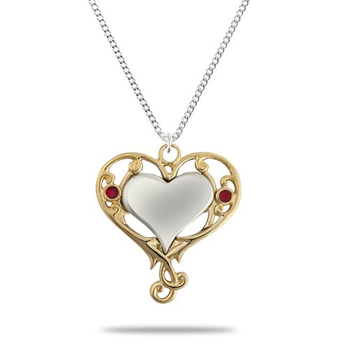 Gold Plated Heart Pendant with Enamel