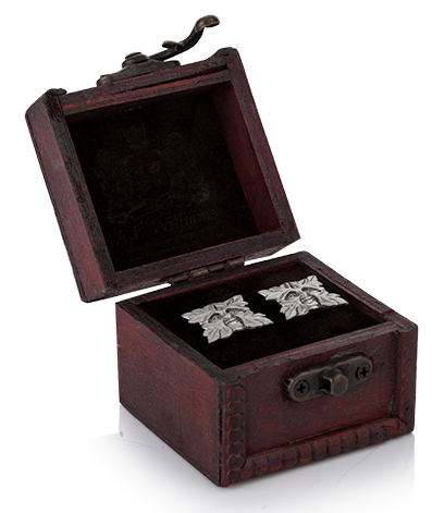 Greenman Pewter Cufflinks in Wooden Trunk