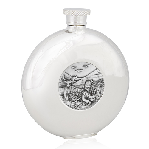 Highland Piper Round Flask