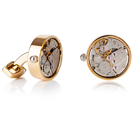 Mechanical Gold Finish Cufflinks