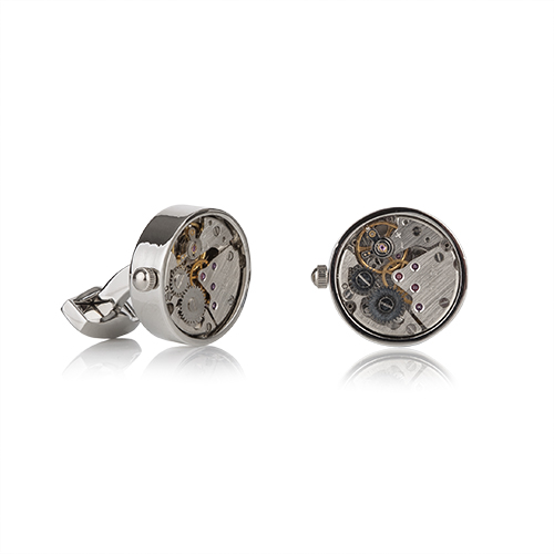 Mechanical Silver Finish Cufflinks