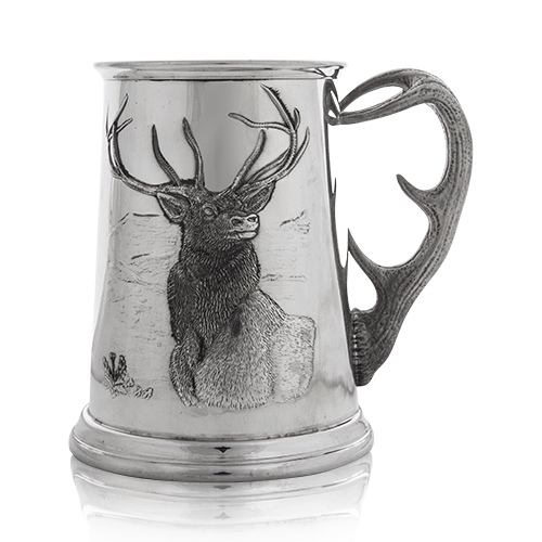 Stag Tankard with Antler Handle