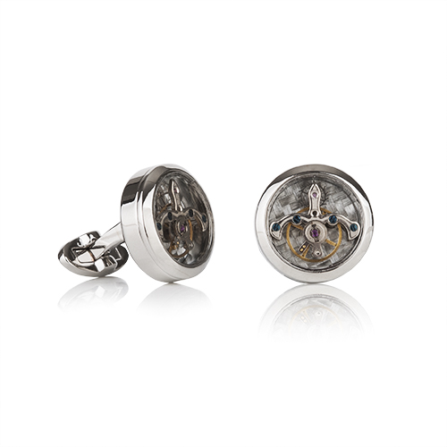 Tourbillion Silver Finish Cufflinks