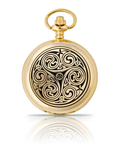 Triple Swirl Pocket Watch Gold