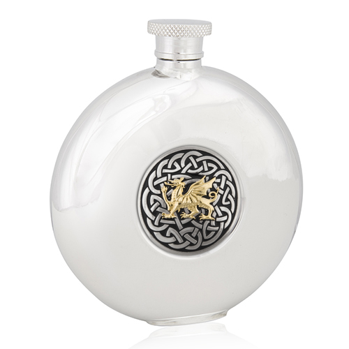 Two Tone Celtic Dragon Round Flask