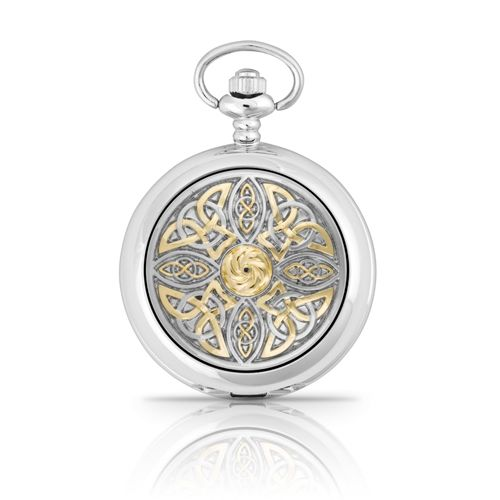 Two Tone Celtic Knot Mechanical Pocket Watch