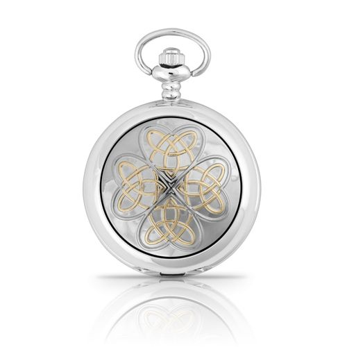 Two Tone Entwined Love Knot Mechanical Pocket Watch