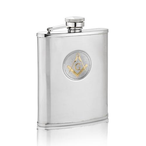 Two Tone Masonic G Hip Flask