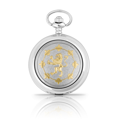 Two Tone Rampant Lion Mechanical Pocket Watch