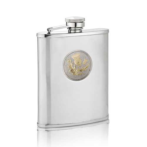 Two Tone Scottish Thistle Hip Flask