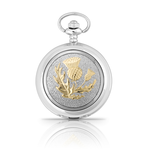 Two Tone Scottish Thistle Pocket Watch