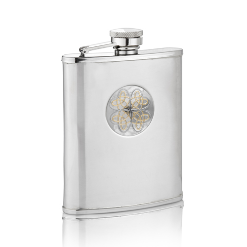 Two Toned Entwined Love Knot Hip Flask